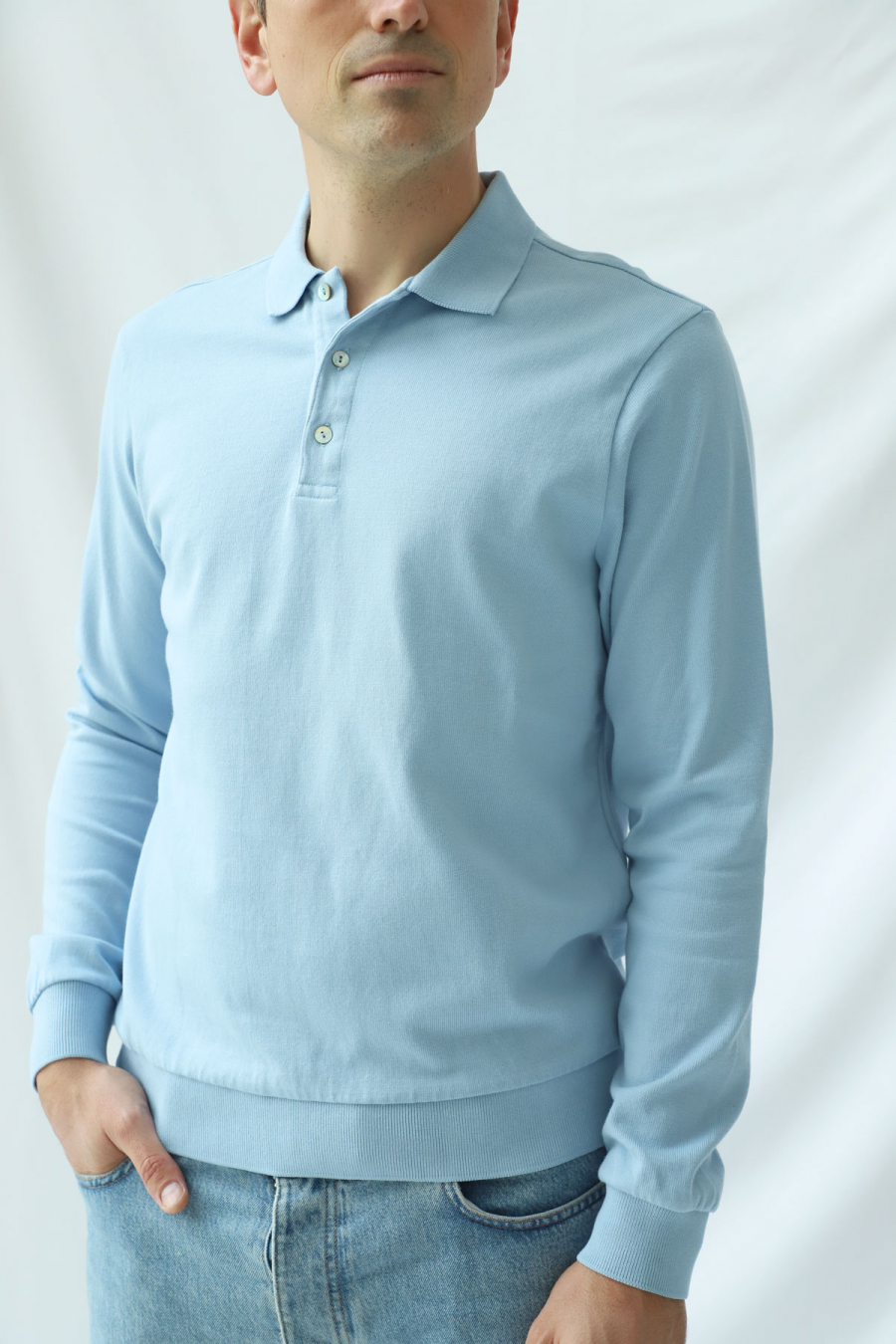 LONG SLEEVE POLO BLUE FOG