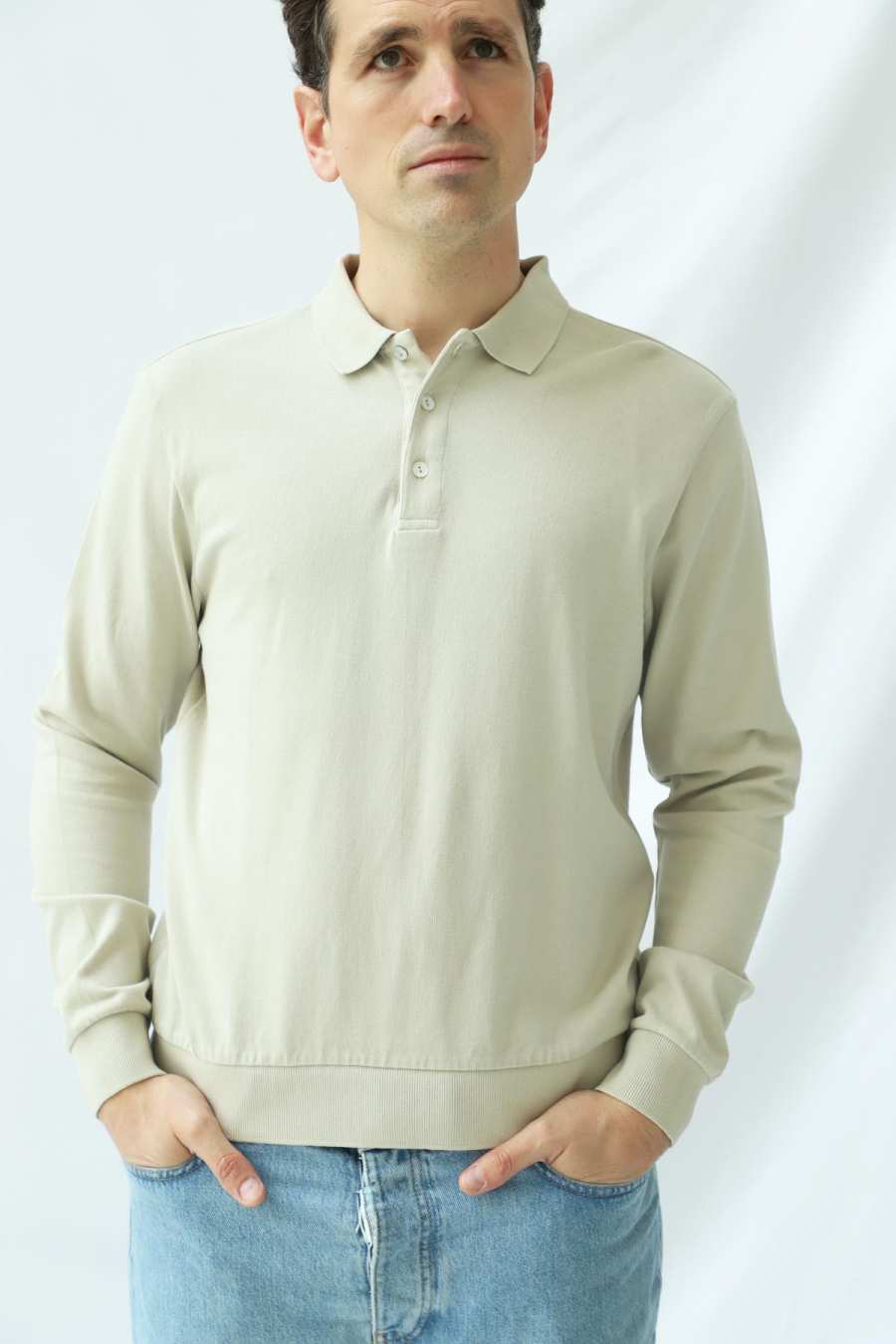 LONG SLEEVE POLO TIDAL FOAM